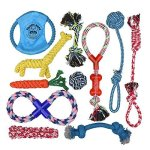 Pacific Pups Products Dog Rope Toys For Aggressive Chewers - Set Of 11 Nearly Indestructible Dog Toys - Bonus Giraffe Rope Toy -