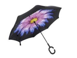 Reversible Umbrella With Design - Purple Daisy
