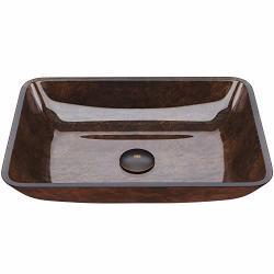 Vigo VG07089 18 Rectangular Russet Glass Vessel Bathroom Sink