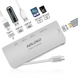 USB C To HDMI Adapter USB C Hub Adloko 6-IN-1 Type C Adapter Power With 4K HD Port Sd tf Card Reader 2 Superspeed USB