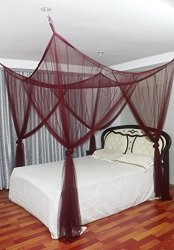 Wine Red Mosquito Nets 4 Corner Poster Square Bed Canopy - Mosquito Net Double u0026 King Size & Wine Red Mosquito Nets 4 Corner Poster Square Bed Canopy - Mosquito ...
