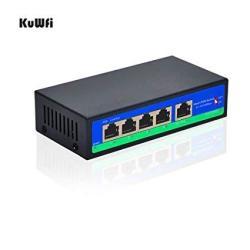 Kuwfi Smart Poe Switch 5 PORT4+1 10 100MBPS Poe Switch Poe Switch 4 Port  Poe 1 Port Uplink With Sfp Fiber Port For Plug & Play Desktop For Ip Phone   
