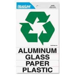 """Headline U.s. Stamp & Sign Self-stick Recycle Decal Sign - 6"""" Width X 6"""" Length - Square - 1 Each"""