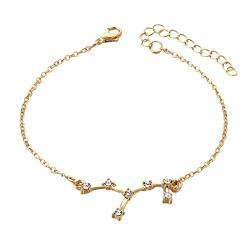 Tpingfe Women Crystal Cz Horoscope Zodiac 12 Constellation Bracelets Star Sign Rhinestone Astrology Disc Adjustable Bracelet Jewelry Gold And Silver