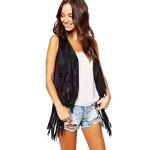 Kstare New Women Fashion Autumn Winter Faux Suede Ethnic Sleeveless Tassels Fringed Vest Cardigan Black L