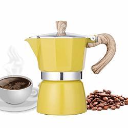 Narce Stovetop Espresso Maker Moka Pot 3 Cup - 5OZ| Yellow - Cuban Coffee Maker| Stove Top Coffee Maker| Moka Italian Espresso |greca Coffee Maker| Aluminum