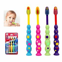 GHTN 4 X Ball Polka Dot Toothbrush Set Suction Cup Stand Soft Bristles Kids Oral Care
