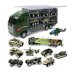 USAB Jenilily Construction Truck Vehicle Container Car Toy Set Trucks Excavator Cement Truck Dumper Bulldozer Forklift Road Roller For Children Kids 11 In 1 Green