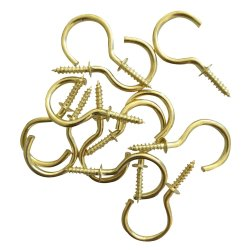 Fastener Solu - Cup Hook Round Brass Plated 32MM PK6