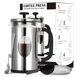TOP-MAX French Press Coffee Maker 34OZ With Heat Resistant Borosilicate Glass & 304 Stainless Steel For Guaranteeing Perfect Coffee Press Mug Bonus Items Included