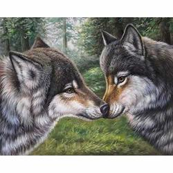 5D Diy Diamond Painting By Number Kits Diy Diamond Painting Kit For Hone Wall Decoration Two Kissed Wolves 15.7X11.8INCH