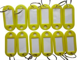 LeBeila Hotel Key Labels Tags - Key Id Identifiers Label Tags For Key Organizer With Split Ring Keyring Keychain 100PCS Set Yellow
