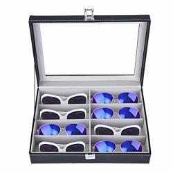 Clearance On Sunglasses Eyeglass Organizer Iuhan 8 Slots Pu Leather Eyewear Storage Box Jewelry Display Case Watch Box With Glas