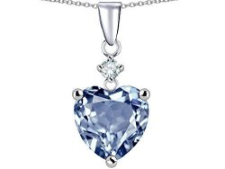 Star K Heart Shape 8MM Simulated Aquamarine Pendant Necklace Sterling Silver
