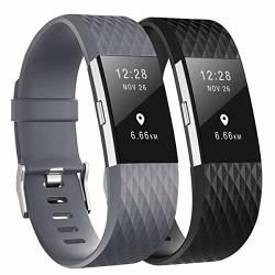 """Fundro Replacement Bands Compatible With Fitbit Charge 2 2 Pack Classic & Special Edition Adjustable Sport Wristbands B Black gray Large 6.7""""-8.1"""""""