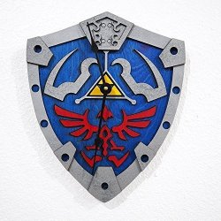 Zelda Wall Clock - Hylian Shield- Laser Cut And Laser Engraved Wood Wall Clock. Perfect Gift Hand Painted Memorabilia Or Collectible