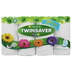 Twinsaver 1-PLY Toilet Paper White 8 Rolls