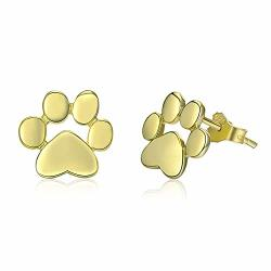 925 Sterling Silver Animal Dog Cat Paw Stud Earrings For Women Sterling Silver Footprints Valentine's Day Gold