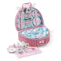 Lucy Locket Fairy Tale Picnic Basket And Tea Set For Children 32 Piece China Tea Set Pink