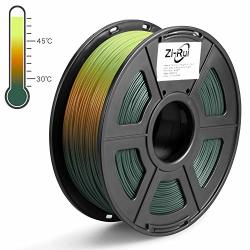 Zi-rui 3D Printer Pla Filament Tri Color Changing With Temperature Pine Green To Light Orange To Yellow 1.75MM + - 0.03MM 2.2LBS 1KG