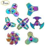 METAL Fidget Spinner 7 Pack Stainless Steel Bearing 3-5 Min High Speed Stress Relief Spin Adhd Anxiety Toys For Adult Kid Autism