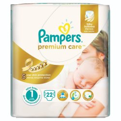 Pampers Premium Care Newbaby 22 Nappies Size 1 Carry Pack