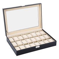Aynefy Watch Box 24 Grid Leather Watch Case Watch Pu Leather Display Case Storage Jewellery Box Bracelet Tray Holder With Lock B