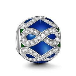 """PandOra Charms Ninaqueen """"forever Love"""" 925 Sterling Silver Dark Blue White Cz Round Bead Charms For Bracelets Necklace Christma"""