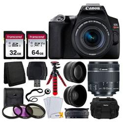 Canon Eos Rebel SL3 Digital Slr Camera Black + Ef-s 18-55MM F 4-5.6 Is Stm Lens + 58MM 2X Professional Telephoto & 58MM Wide Ang