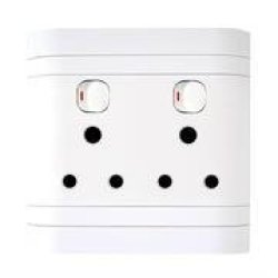 Lesco Double Switch Socket With Flush Cover -voltage: 220-240V Amperage: 16A Height: 100MM Width: 100MM Material: Polycarbonate