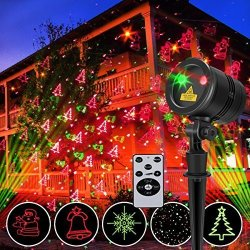 Goutoday Christmas Laser Lights Goutday Wireless Remote Outdoor Projector Lights 5 Patterns Red & Green Laser