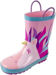 Rainbow Daze Unicorn Printed Waterproof Rain Boots With Easy-on Handles For Kids 100% Rubber Ages 2 To 9 11 12 Unicorn Pink