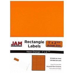 "JAM Paper & Envelope Jam Paper Mailing Address Labels - Small - 1"" X 2 5 8 - Neon Fluorescent Orange - 30 Labels Per PAGE 120 Labels Total"