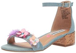 Steve Madden Girls' Jiriss Heeled Sandal Denim 4 M Us Big Kid