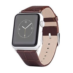 Apple Watch Band Luxury Premium Genuine Leather Bamboo Style Watch Strap Band For Fash