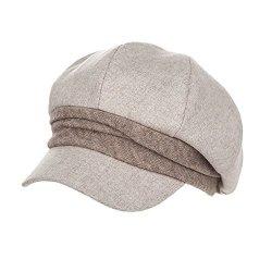 d9e73847175 Fancet Womens Visor Beret Newsboy Cap Vintage Paperboy Cabbie Painter  French Wool Hat Beige