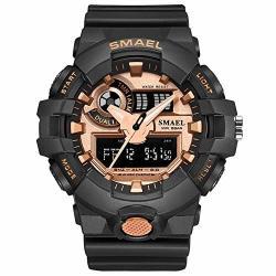 Etbotu Men Sports Watch Multifunctional Outdoor Waterproof Digital Wristwatch Rose Gold