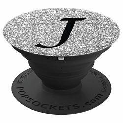 Silver Glamour Monogram Letter J Initial
