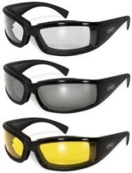 GV Set Of 3 Stray Cats Motorcycle Glasses Sunglasses Smoked Clear Yellow New Double Sided Anti Fog Coating Foam Padded UV400 Msr