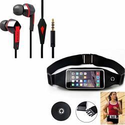 Black Sports Running Workout Waist Bag Belt Case W Headset Handsfree Earphones Earbuds W MIC M3Y Compatible With Blackberry Z30