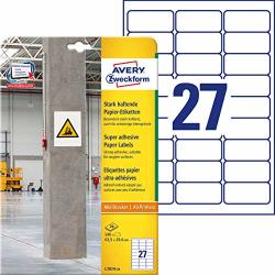 Avery Zweckform L7874ADHESIVE Labels 63.5X 29.6MM 20SHEETS 540LABELS WHITE