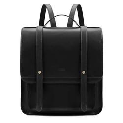 ECOSUSI Women Briefcase Laptop Backpack Pu Leather Satchel Messenger Bag Fits Up To 14 Inch Laptops With Small Purse Black