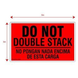 "Kenco 3"" X 5"" Do Not Double Stack Bilingual English Spanish Shipping Label Stickers -500 Labels Per Roll"