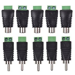 Lemoy 10-PACK Phono Rca Male And Female Plug To Av Screw Terminal Audio video Connector Adapter 5 Male & 5 Female