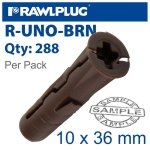 RawlPlug Universal Plug Brown 7MM X 30MM X3 Of X96 Wraped