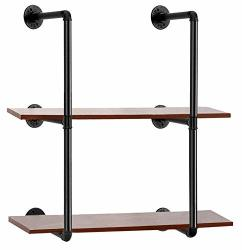 Oyydecor Industrial Pipe Shelves Wall Mount Hung Bracket Retro Iron Storage Pipe Shelving Home Improvement Kitchen Shelves Diy Open Bookshelf No Planks 2 Pcs 3 Tier
