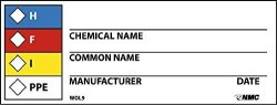 Nmc WOL9 H - F - I - Ppe - Chemical Name_ Common Name_ Manufacturer_ Date_ Label - Roll Of 500 4 In. X