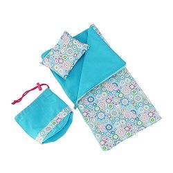 Emily Rose 14 Inch Doll Clothes Accessories Reversible Multicolored Sleeping Bag Bed Bedding Set With Pillow And Drawstring Stor