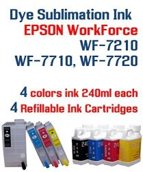 Dye Sublimation Ink - Workforce WF-7210 WF-7710 WF-7720 Printer Refillable  Ink Cartridge Package - 4 Multi-color Bottles 240ML E | R | Printer