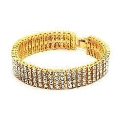 Bling King Large Hip Hop Bling 4 Row Pharaoh Bracelet - XL - 14K Gold Plated Heavy